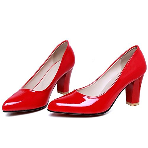 TAOFFEN Damen Elegant Pointed Toe Blockabsatz Slip on Office Work Pumps Rot