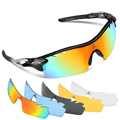 HODGSON Fahrradbrille Sport Sonnenbrille für Herren und Damen Polarisierte, Sportbrille mit 5 Wechselobjektiven und Radsports, Baseball, Laufen, Tr90-Schwarz …