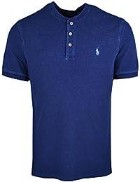 Ralph Lauren Polo piqué Bleu Marine Vieilli Logo Bleu col Mao pour Homme 2db88620adbc