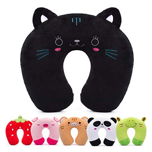 Cuscino da viaggio per bambini homewins cuscino cervicale ultra morbido cuscino cervicale animali per dolori cervicali sonno per seggiolino auto rav aereo (gatto nero)