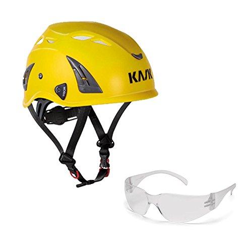 KASK Schutzhelm, Bergsteigerhelm, Industriekletterhelm Plasma AQ - Arbeitsschutz-Helm + Schutzbrille klar - EN 397, Farbe:gelb