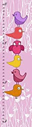 Green Leaf Art Birds on Pink Growth Chart