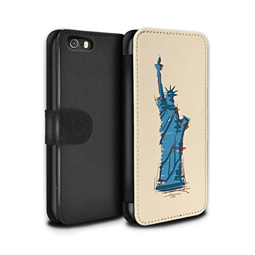 Stuff4 Coque/Etui/Housse Cuir PU Case/Cover pour Apple iPhone 5/5S / Moulin/Hollande Design / Monuments Collection Statue de la Liberté