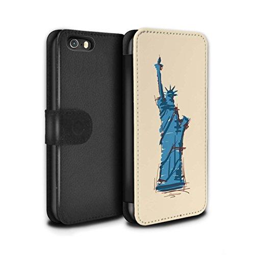 Stuff4 Coque/Etui/Housse Cuir PU Case/Cover pour Apple iPhone 5/5S / Moulin/Hollande Design / Monuments Collection Statue de la Liberté