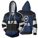 CLOTHING Felpa 3D con Cappuccio Marvel RPD Resident Evil Leon S. Kennedy Zipper-+L