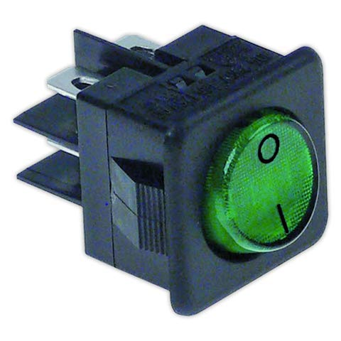 DOJA Industrial   Interruptor 25x25 mm II verde con piloto   Interruptores