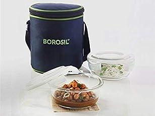 Borosil Glass Tiffin Set, 400ml, Set of 2, Clear