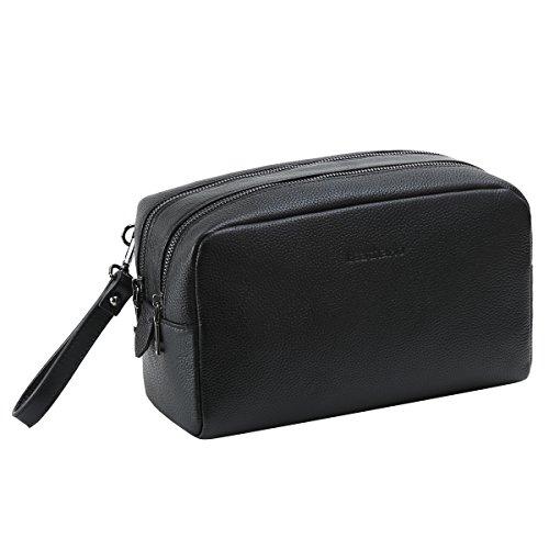 Leathario Kulturtasche inkl. 2 Reiseflaschen aus Rindsleder mit 2 Jahren Garantie XXL Kulturbeutel, Kosmetiktasche für Weltreisende mit Tragegriff