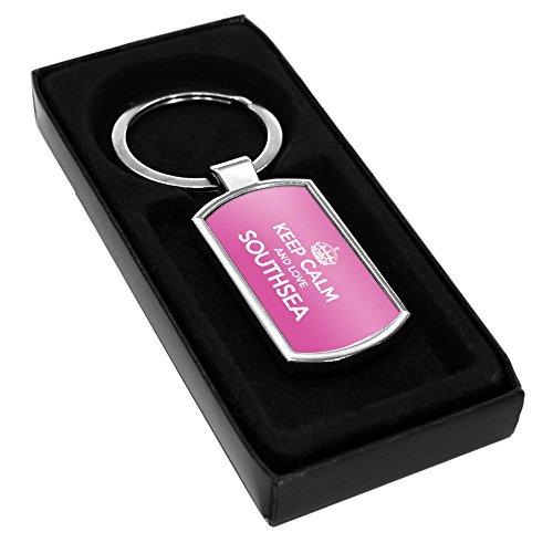 Pink Keep Calm und Love bezogene Lehnstuhl Southsea Schlüsselanhänger aus Metall 1032
