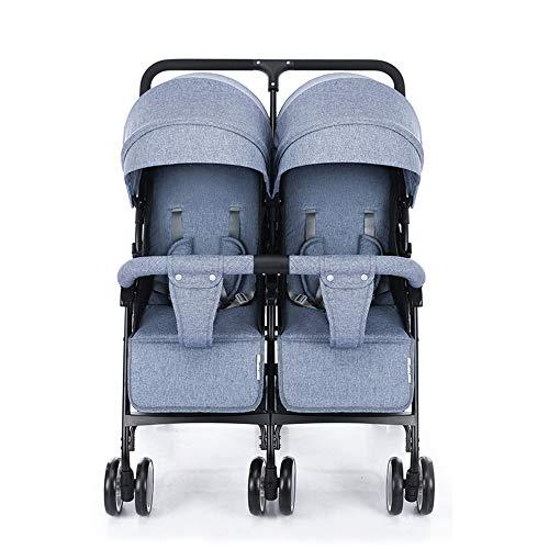 Zhongsufei Kinderwagen Kinderwagen Krippe Faltbarer Sommer-kühler tragbarer Baby-im Freienkinderwagen-Baby-Wiege passend für Zwilling Reise-System mit Korbwiege (Farbe : Blau)