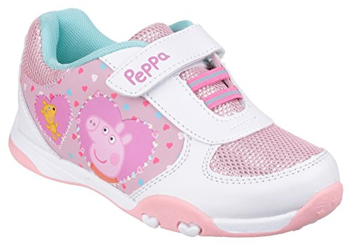Barratts Trainers Peppa Pig Hook & Loop Trainer White 7.5 Infant