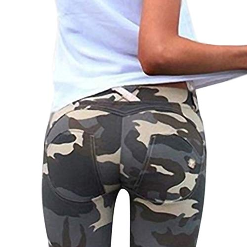 Minetom Damen Camouflage SkinnyHose Legging mit Löchern Slim Fit Military Army Hosen Streetwear B Grün DE 44