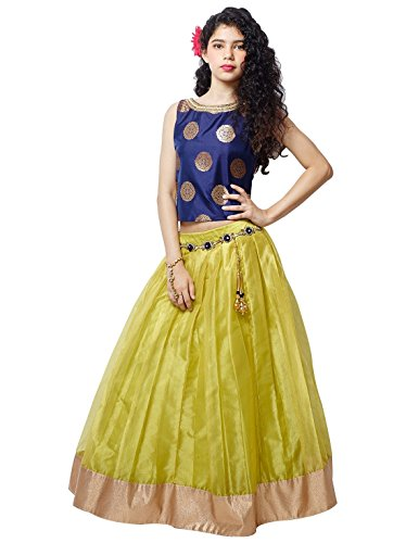White Button Girls' Net Blue Lehenga Choli (Blue Yellow-12-13 Years_12-13 Years)
