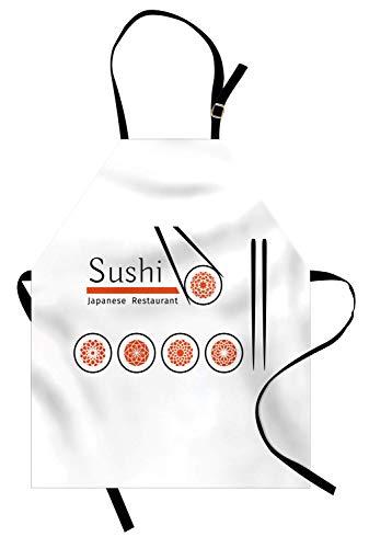 (Japan-Schürze, kulturelles abstraktes dekoratives Bissen für japanische Sushi-Bars Restaurants, Unisex-Küchenschürze mit verstellbarem Hals zum Kochen Backen im Gartenbau, Vermilion Charcoal Grey)