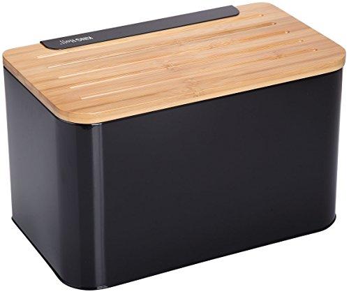 Brokiste Boîte à pain en bambou noire, avec planche à découper 35 x 20 x 21 cm