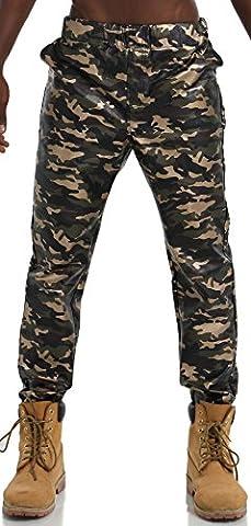 Pizoff Hommes Hip Hop PU pantalons de survêtement imprimé camouflage de camouflage similicuir Y1715-2-38