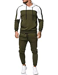 a8baaa627 Men Chic Patchwork Hoodies Pants Workout Leggings Suit, DIKEWANG Men's  Sweatshirt Tops Pants Sets Sports
