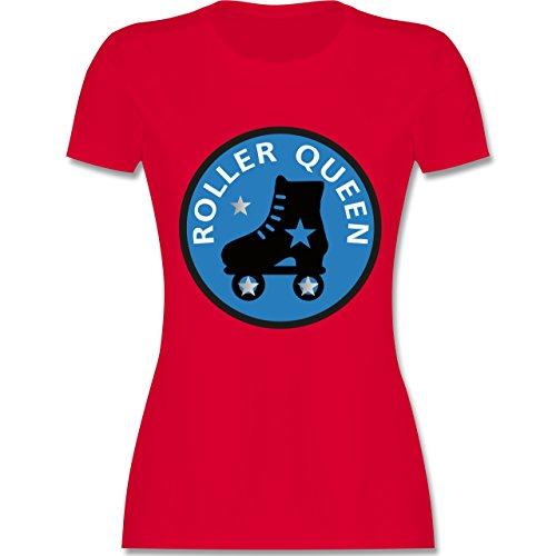 Vintage - Roller Queen Rollschuh - tailliertes Premium T-Shirt mit Rundhalsausschnitt für Damen Rot
