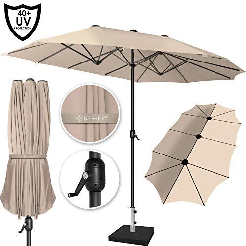 Sonnenschirm (Kesser® Sonnenschirm Doppelsonnenschirm | Gartenschirm | Marktschirm | Terrassenschirm mit Handkurbel | Oval | Aluminium | UV-beständig | wasserabweisenden | Beige)