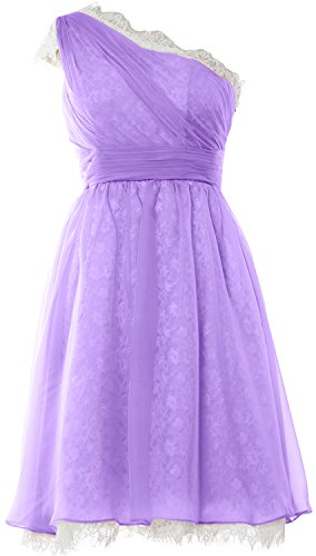 MACloth Women Short Chiffon Lace Cocktail Dress Prom Homecoming Formal Gown Lavendel