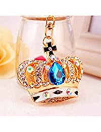Banggood ELECTROPRIME Crystal Keyring Charm Pendant Bag Key Ring Chain Keychain Crown Blue