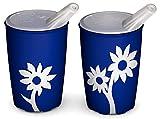 Ornamin Becher mit Anti-Rutsch Blume 220 ml blau/weiß und Schnabelaufsatz 2er-Set | Antirutsch Schnabelbecher für Halt und sicheres Greifen | Trinkhilfe, Pflegebecher, Schnabeltasse, Kinderbecher