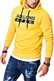 JACK & JONES Herren Hoodie Kapuzenpullover Sweatshirt Pullover Streetwear 4 Elements (Large, Yolk Yellow)