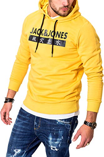 JACK & JONES Sudadera con Capucha Suéter Manga Larga para Hombre Casual Streetwear (Medium, Yolk Yellow)