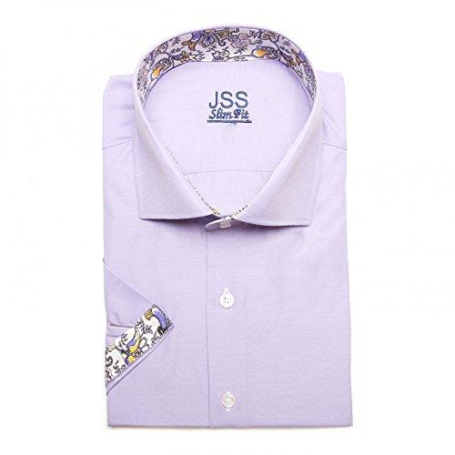 Italienisches Hawiian Herren Hemd Slim Fit Shirt kurzärmlig mit Kontrast-Kragen, In den Größen Gr. S-4XL Weiß - Lilac paisley
