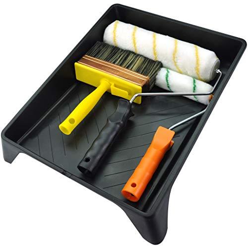 Premium 6-teiliges Multi-Use 22,9 cm Speed Maler-Set, Farbroller, Malpinsel, 14 cm Wandpinsel, Lackset, Fleckenpinsel, 3,8 cm SRT Malerpinsel, Werkzeugset, Heimwerkzeug-Set, Werkzeugset. -