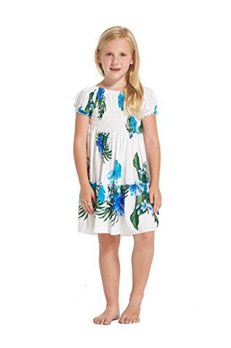 Nia-hawaiano-Juego-de-vestidos-y-pantalones-a-juego-en-Blanco-con-Floral-Floral-Azul-Tamao-10