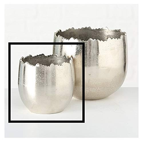 Blumentopf Übertopf Silber Metall massiv Pflanztopf Deko Pflanzentopf Dekotopf (Klein: Ø14 x H13 cm)
