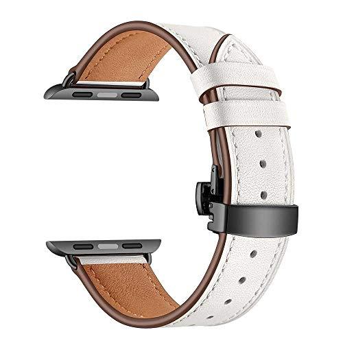 Vamoro Lederarmband Ersatzband Ersatz Uhren-Armband Schwarze Schmetterlingsschnalle Lederarmbanduhr für Apple Watch 4 44mm(Weiß)