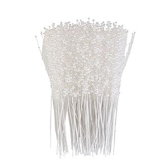 ULTNICE 100 Piezas Alfileres Perla Arreglos Florales Estambre de Flores Artificiales para Boda Decoración de Ramo de Flores Blanco