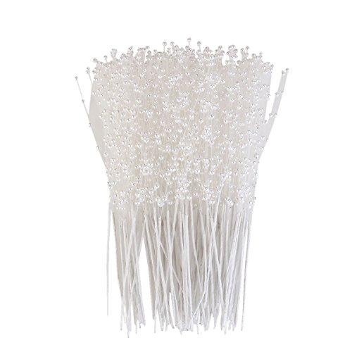 ultnice 100Teile Stecknadeln Perle Blumengestecke Staubblatt Künstliche Blumen für Hochzeit Deko-Blumenstrauß, Weiß