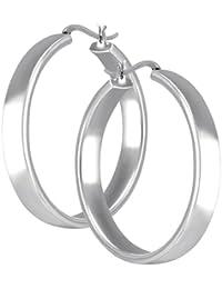 Vinani Damen-Klapp-Creolen poliert glänzend Sterling Silber 925 Ohrringe CBAG
