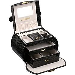 LANGRIA Caja Joyero Arqueado de Piel de Cocodrilo Sintética,con Compartimentos Extraíbles, Cierre con Llave, Interior Aterciopelado y con Espejo, Organizador para Joyas, Bisutería (Negro)