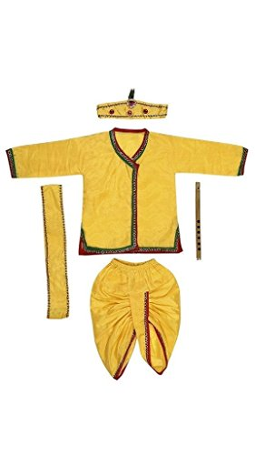 Krystle Yellow krishna style kurta & dhoti dress for kids...