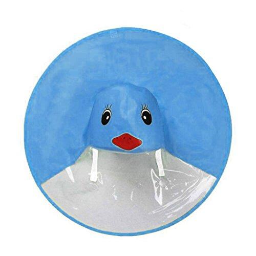 FORH Kind Regenjacke Netter Regenmantel für Männer und Junge Mädchen Regen Mantel Kleine gelbe Ente Regenschirm Hut Poncho Regencape Regenkleidung (S, Blau)