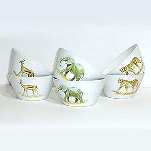 B.E.C.- Bols Coniques X 6 porcelaine décor Savane - 13