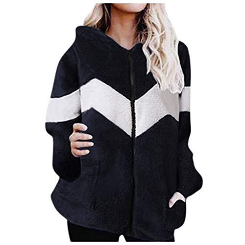 BOLANQ Warmer Plüsch Strickmantel Mit Kapuze, Damen Langarm Patchwork Kapuzen Sweatshirt Fleece Outwear Mit Tasche(Medium,Dunkelblau)