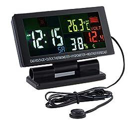 AMTOVL Termometro Igrometro Digitale Pannello Stazione Metro Orologio da Auto LCD Colorato con Funzione Sveglia Allarme di Tensione