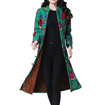 CATSAP Women Folk-Custom Vintage Thicken Coat Outwear Warm Long Jacket Snowsuit Outwear Button Cardigan