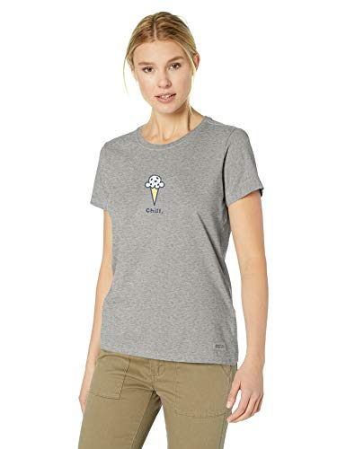 Life Is Good Women's Vintage Crusher Tee Chill Cone, Heather Gray, X-Small - Womens Vintage Tee