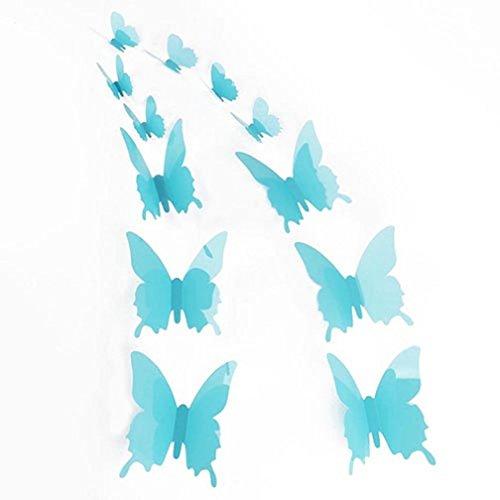 ALCYONEUS alkyoneus 12Schmetterling Aufkleber Wand Kühlschrank Aufkleber Art Design Aufkleber Home Decor Glossy Light Blue (Home Decor Light Blue)