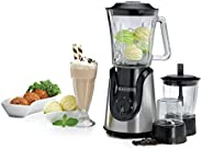 Black+Decker 600W Glass Blender with with Grinder and Mincer Chopper - White and Black [BX600G-B5]