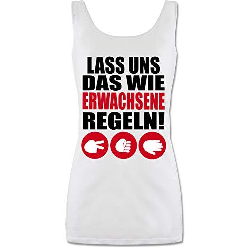Papier Kostüm Stein Schere - Sprüche - Lass Uns das wie Erwachsene Regeln Schere Stein Papier - XL - Weiß - P72 - Tanktop für Damen und Frauen Tops