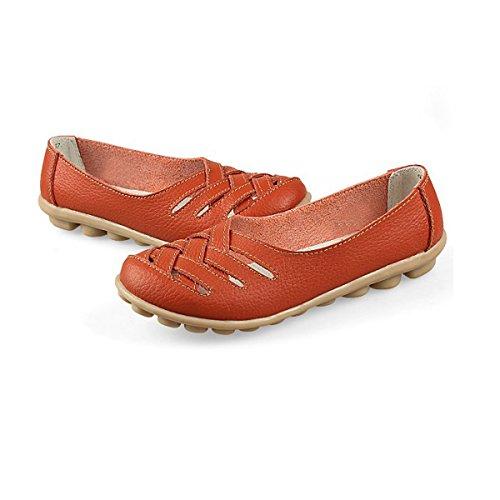 Oriskey Mocassins Femme Cuir Loafers Casual Bateau Chaussures de Ville Flats Orange
