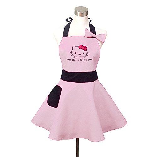 ight Pink Retro Küche Schürzen für Damen, Mädchen Baumwolle Kochen Salon Latzschürze Vintage Schürze Kleid (Hello Kitty Damen Kleid)