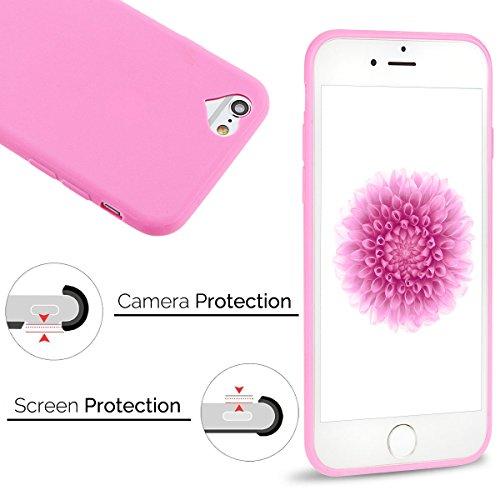 iPhone 6 Cover iPone 6s Custodia Anfire Molle Flessibile Gel TPU Case Cover per iPhone 6 / 6s (4.7 pollici) Silicone Ultra Sottile Opaco Antiurto Anti Skid Bumper Protezione Shell Nuova Moda Colore So Rosa